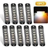 EEEkit 10 Pack LED Emergency Strobe Lights, Amber White 6 LED Strobe Warning Emergency Flashing Light Caution Construction Ha