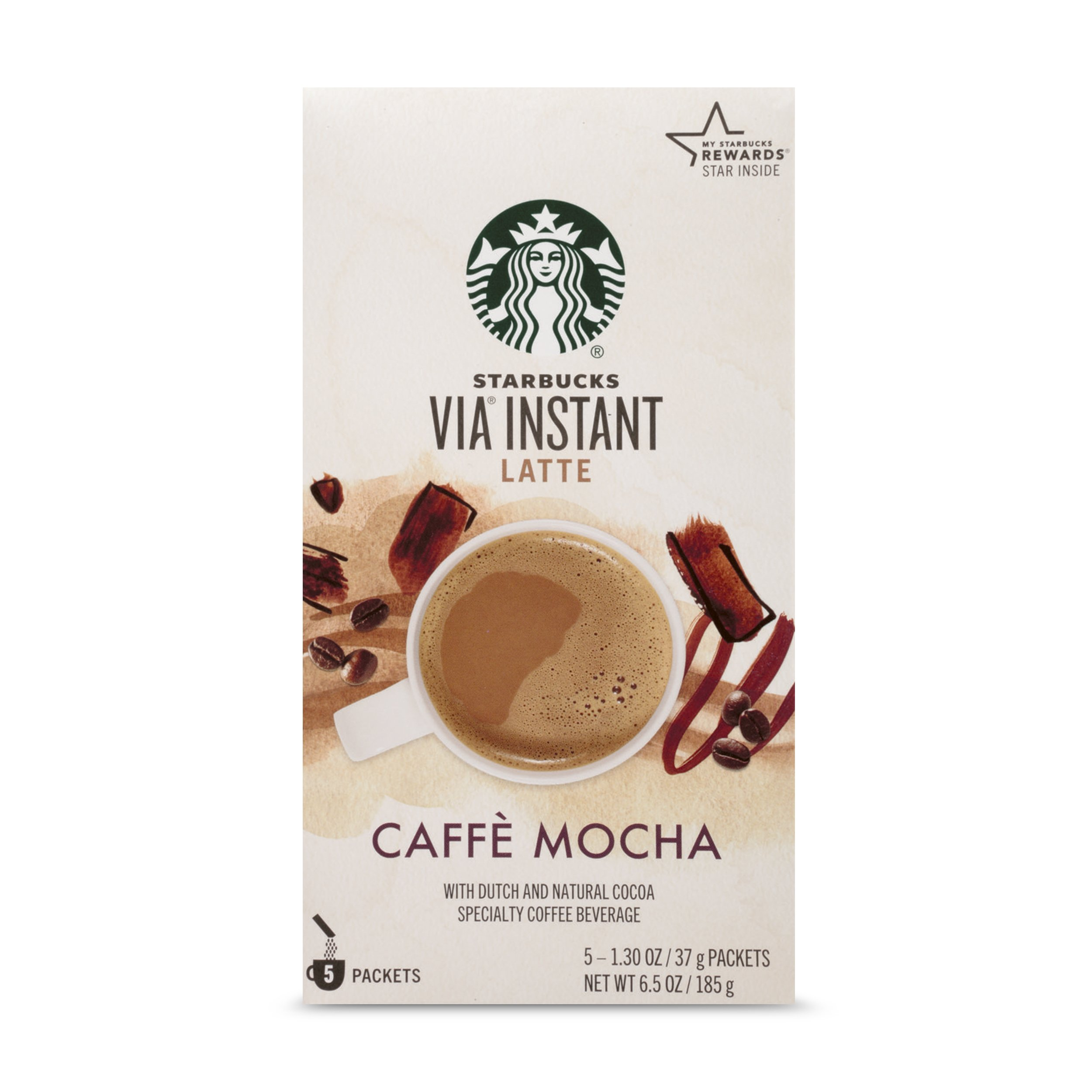 Starbucks VIA Instant Coffee, Mocha Latte, 5 Count