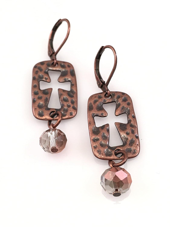 Antiqued Copper Cut Out Cross Earrings