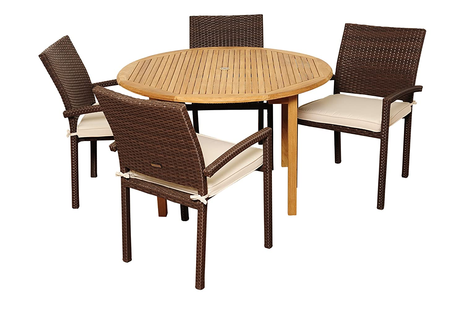 Amazonia Teak Colorado 5-Piece Teak Wicker Round Dining Set with Off-White Cushions