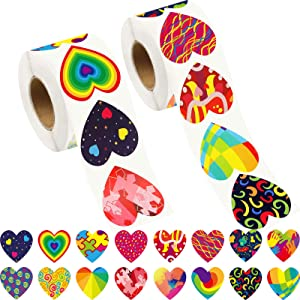 Zonon 1000 Pieces Valentines Heart Stickers Valentine's Day Stickers Colorful Love Decorative Heart Stickers Labels for Craft Scrapbooking Weeding Party Favor Decoration Supplies, 2 Rolls