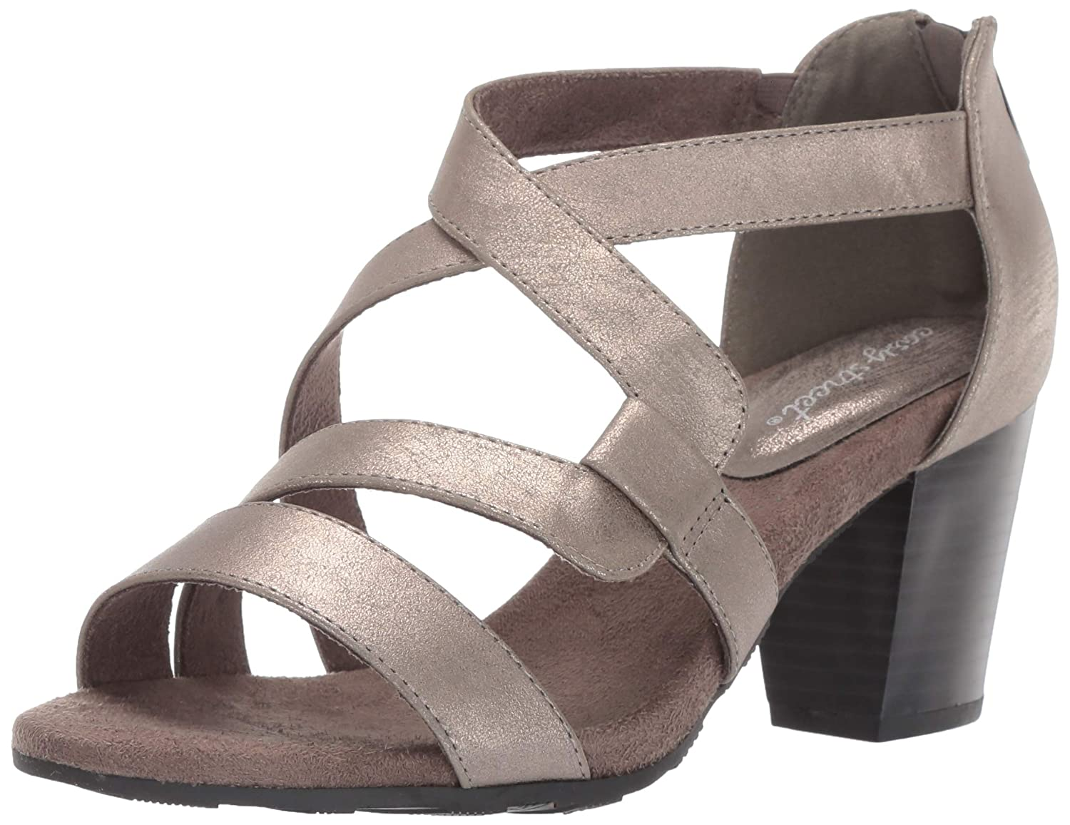 Pewter Metallic Easy Street Womens Amuse Dress Casual Sandal with Back Zipper Heeled Sandal