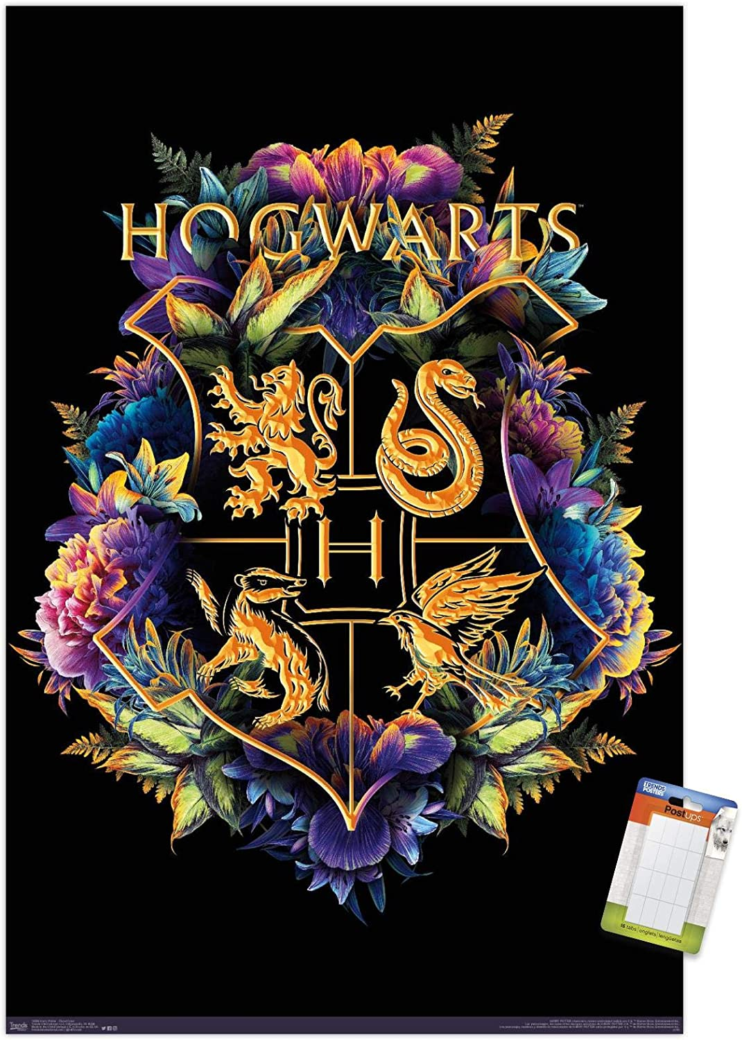 "Trends International Wizarding World: Harry Potter-Floral House Crests Mount Wall Poster, 22.375"" x 34"", Poster & Mount Bundle"