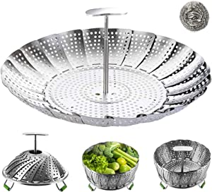 """Vegetable Steamer Basket,Stainless Steel Folding Steamer with Extending Removable Center Handle Insert for Veggie Fish Seafood Cooking,Expandable to Fit Various Size Pot Pressure Cooker(7"""" to 11"""")"""