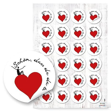 48 Schön dass du da bist Corazón etiqueta redonda 4 cm blanco y negro rojo regalo decorativo para ...