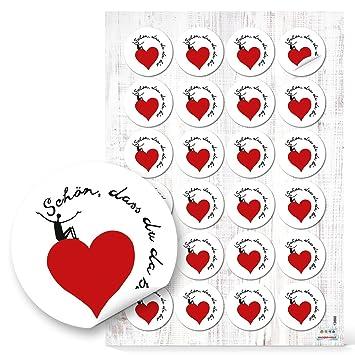 48 Schon Dass Du Da Bist Herz Aufkleber Rund 4 Cm Schwarz Weiss Rot