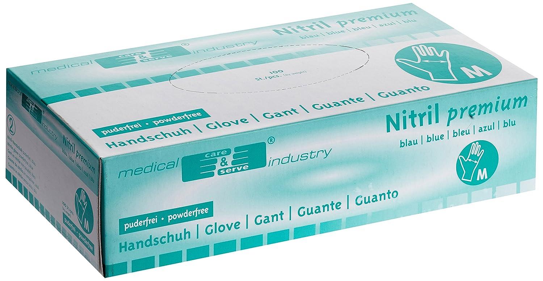 Paquete 1er 1 x 100 unidades Los guantes de nitrilo de la industria m/édica azul sin polvo Tama/ño M 100 Lote
