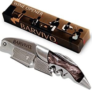 Barvivo Professional Waiters Corkscrew This Bottle Opener for Beer and Wine Bottles is Used by Waiters, Sommelier and Bartenders Around The World. Made of Stainless Steel and Black Resin.