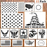 DmHirmg 15pcs American Flag Stencil Plastic Stencil Template(Map Flag Marine Corps Army Air Force) for Planner/Notebook…