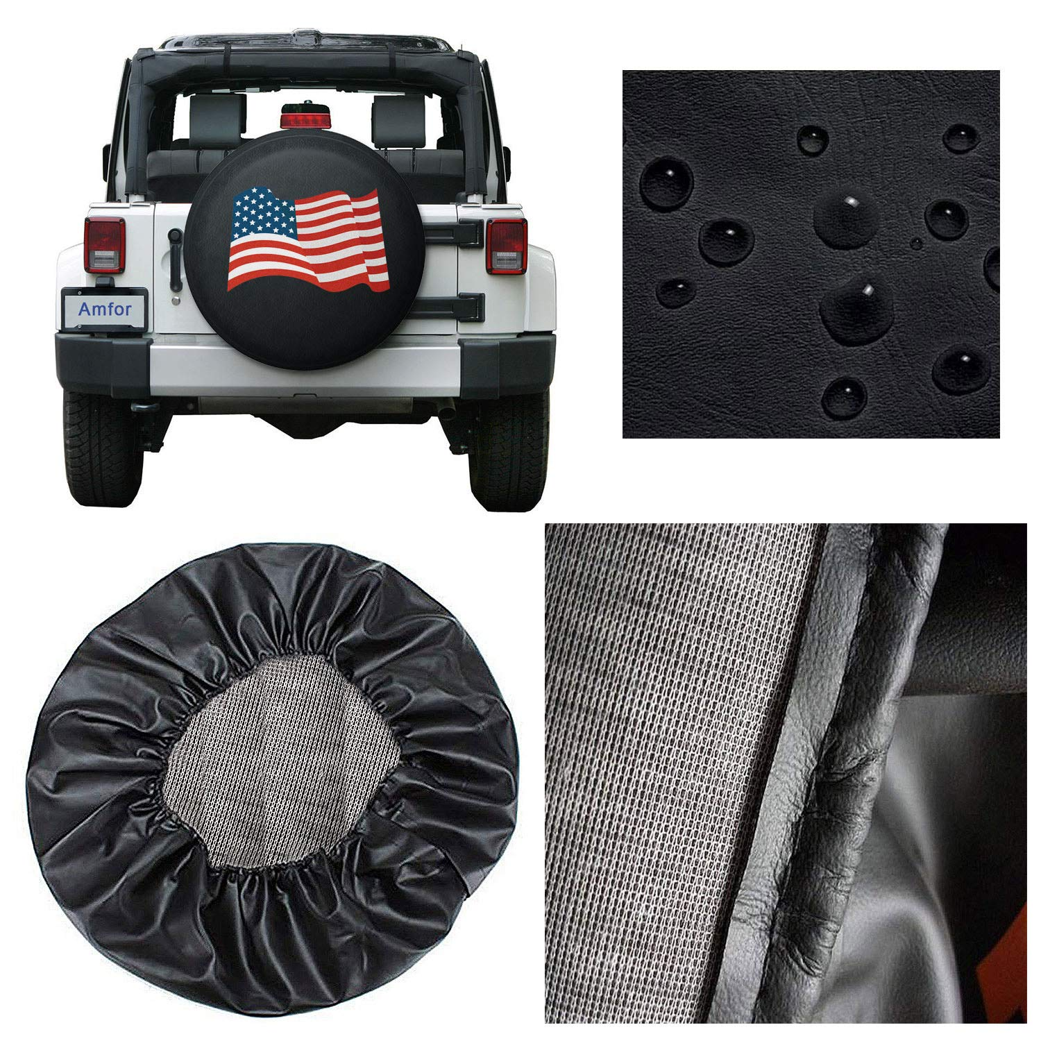 SUV White RV Trailer Amfor Spare Tire Cover Truck and Many Vehicle Universal Fit for Jeep Wheel Diameter 28-30 Weatherproof Tire Protectors