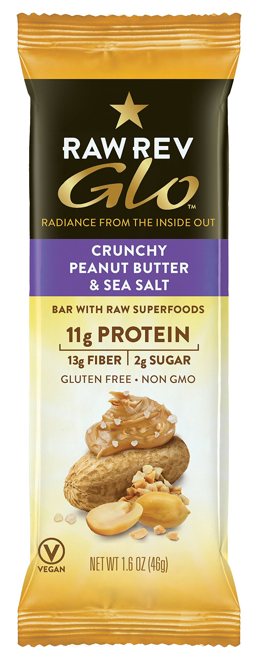 Raw Rev Glo Vegan, Gluten-Free Protein Bars - Crunchy Peanut Butter & Sea Salt 1.6 ounce (Pack of 12)