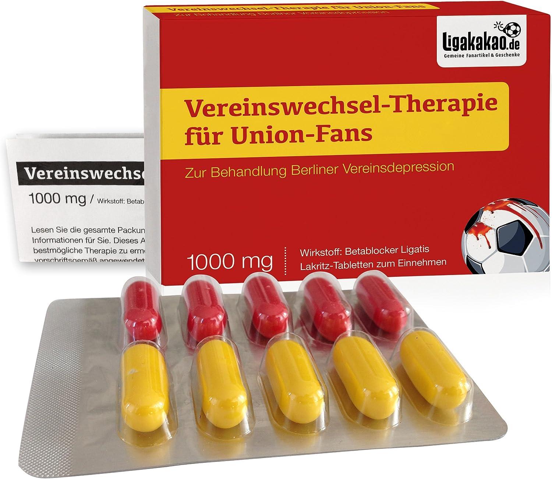 """Vereinswechsel-Therapie f/ür Berlin-Fans Lakritz-Schmerztabletten f/ür Union-Fans mit chronischen Vereinsdepressionen W/ähle gemein witzige Geschenk-Sets /über /""""Farbe/"""""""
