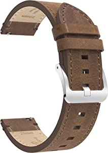 BaiHui Quick Release 22mm Watch Bands Compatible with Galaxy Watch 3 45mm - Top Leather Watch Band Replacement Watch Strap for Samsung Galaxy Watch 46mm/Gear S3 Frontier/Classic Watch