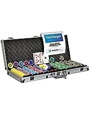 Nexos Pokerkoffer Pokerset 500 300 Laser Pokerchips Poker Komplett Set 12 g Chips Deluxe Größe wählbar (500 Chips)