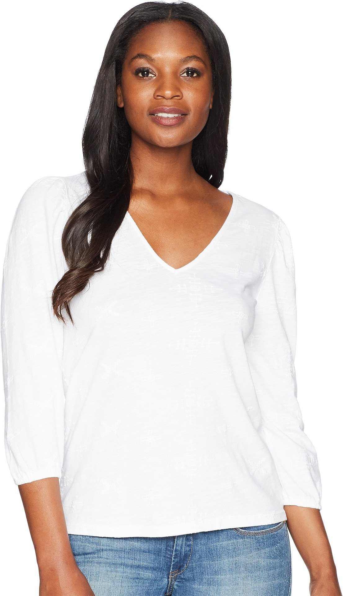 Lucky Brand Women's Eyelet Peasant Top, Lucky White, M