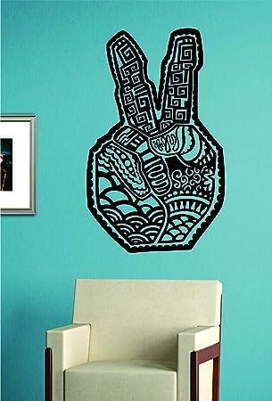 Peace Sign Hand Art Decal Wall Vinyl Art Sticker Boy Girl Teen