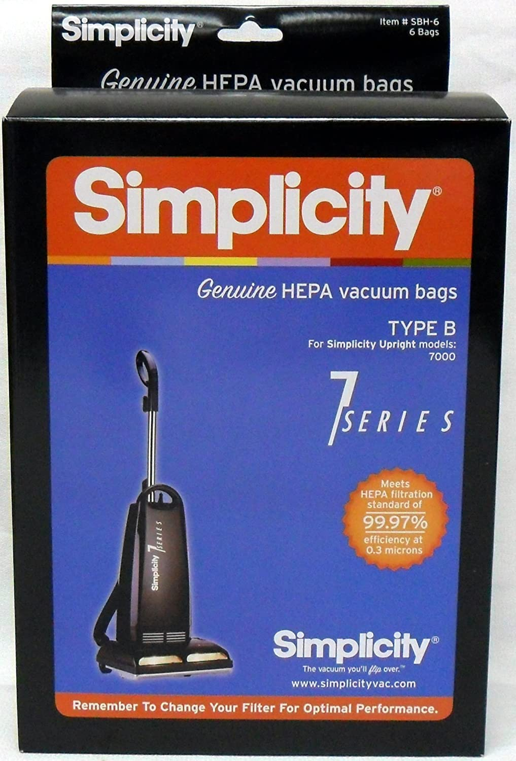 Simplicity Type B Genuine HEPA Vacuum Bags for Upright Models 7000 (Pack of 6)