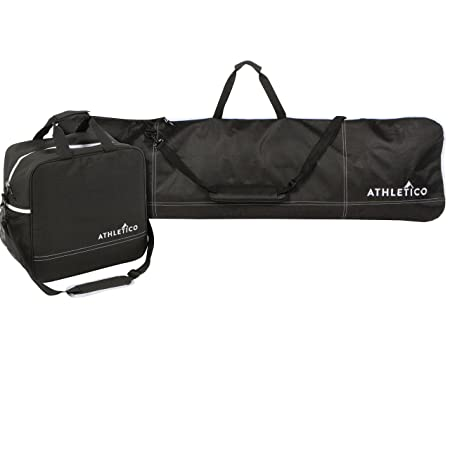 Review Athletico Two-Piece Snowboard and Boot Bag Combo | Store & Transport Snowboard Up to 165 CM and Boots Up To Size 13 | Includes 1 Snowboard Bag & 1 Boot Bag (Black)
