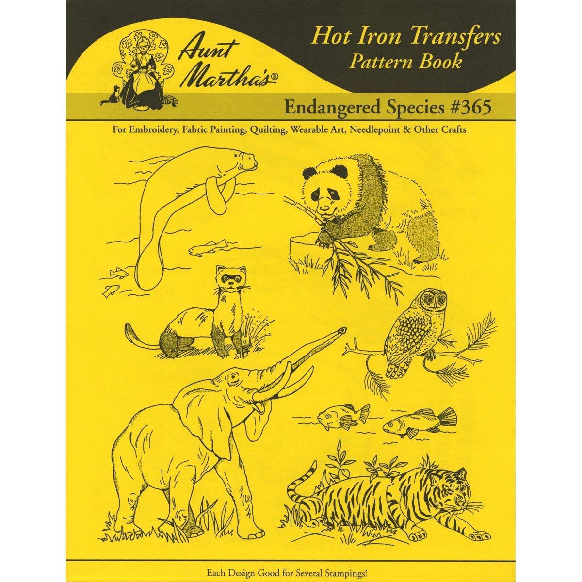 Aunt Marthas Iron on Transfer Books Endangered Species