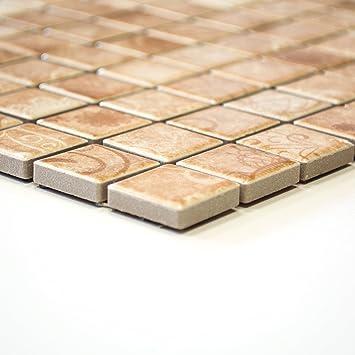 Mosaikfliesen Fliesen Mosaik Küche Bad WC Wohnbereich Fliesenspiegel  Keramik Beige 6mm #360
