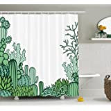 Cactus Decor Shower Curtain , Arizona Desert Themed Doodle Cactus Staghorn Buckhorn Ocotillo, Fabric Bathroom Decor Set…