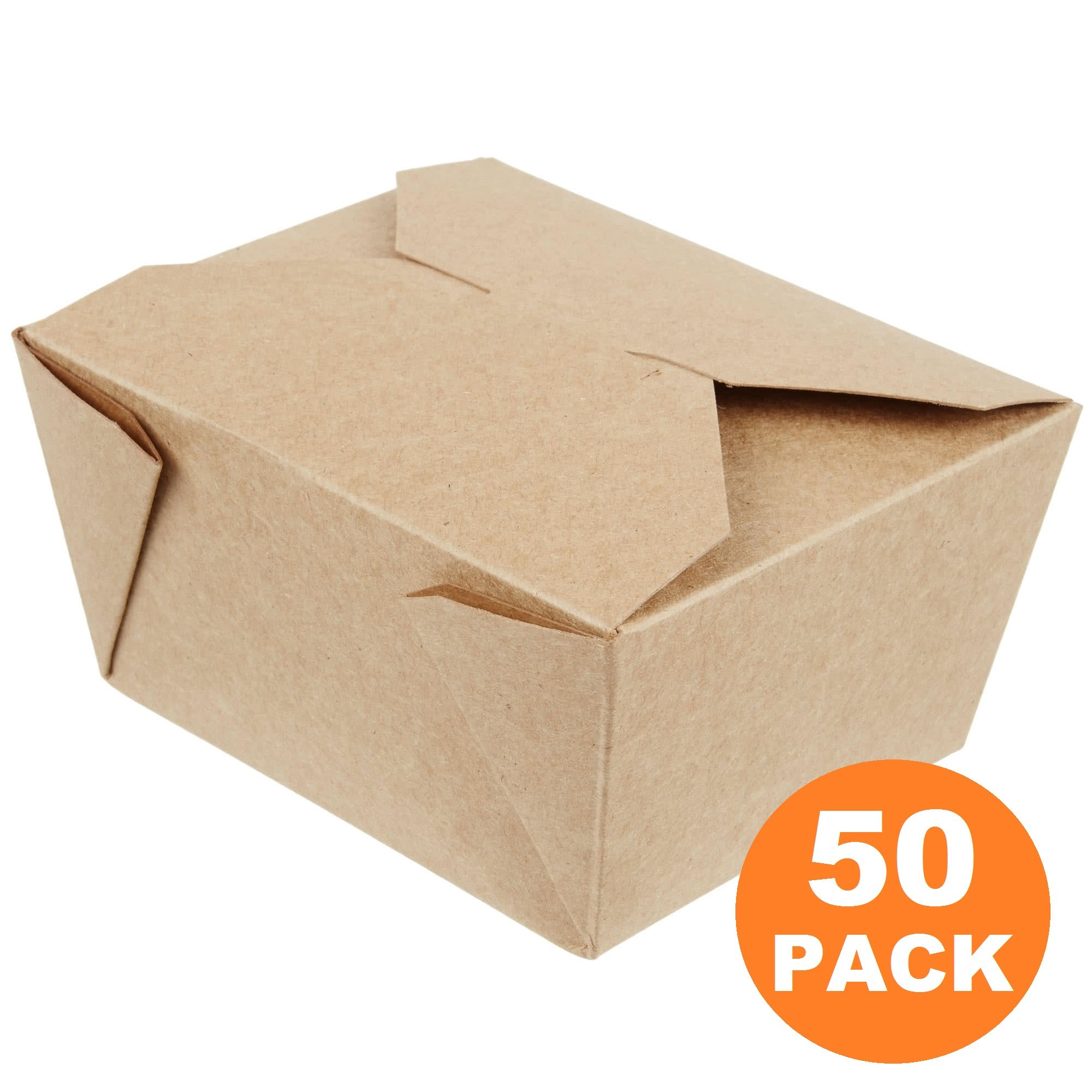 30 OZ 5 x 4.5 x 2.5'' Disposable Paper Take Out Food Containers, Microwaveble Folding Natural Kraft To Go Boxes #1 [50 Pack]