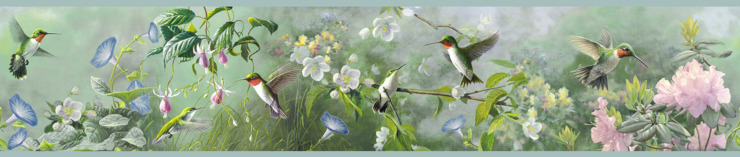 Chesapeake HTM48531B Ruby Green Hummingbird Garden Wallpaper Border