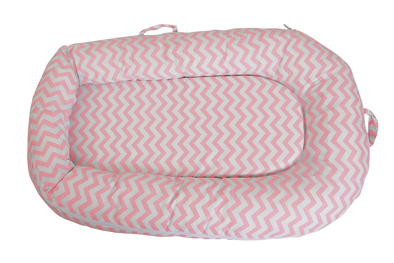 Newborn and Infant Baby Lounger, Portable Bassinet NEST - Perfect for Co Sleeping - Suitable from 0-10 Months - Super Soft and Breathable - Great Gift Idea - Make Travel EZ (Pink (Chevron)) Massive Deals 4 Babies