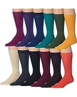 James FialloMen's 12-Pairs Solid Colored Bold Lightweight Dress Socks