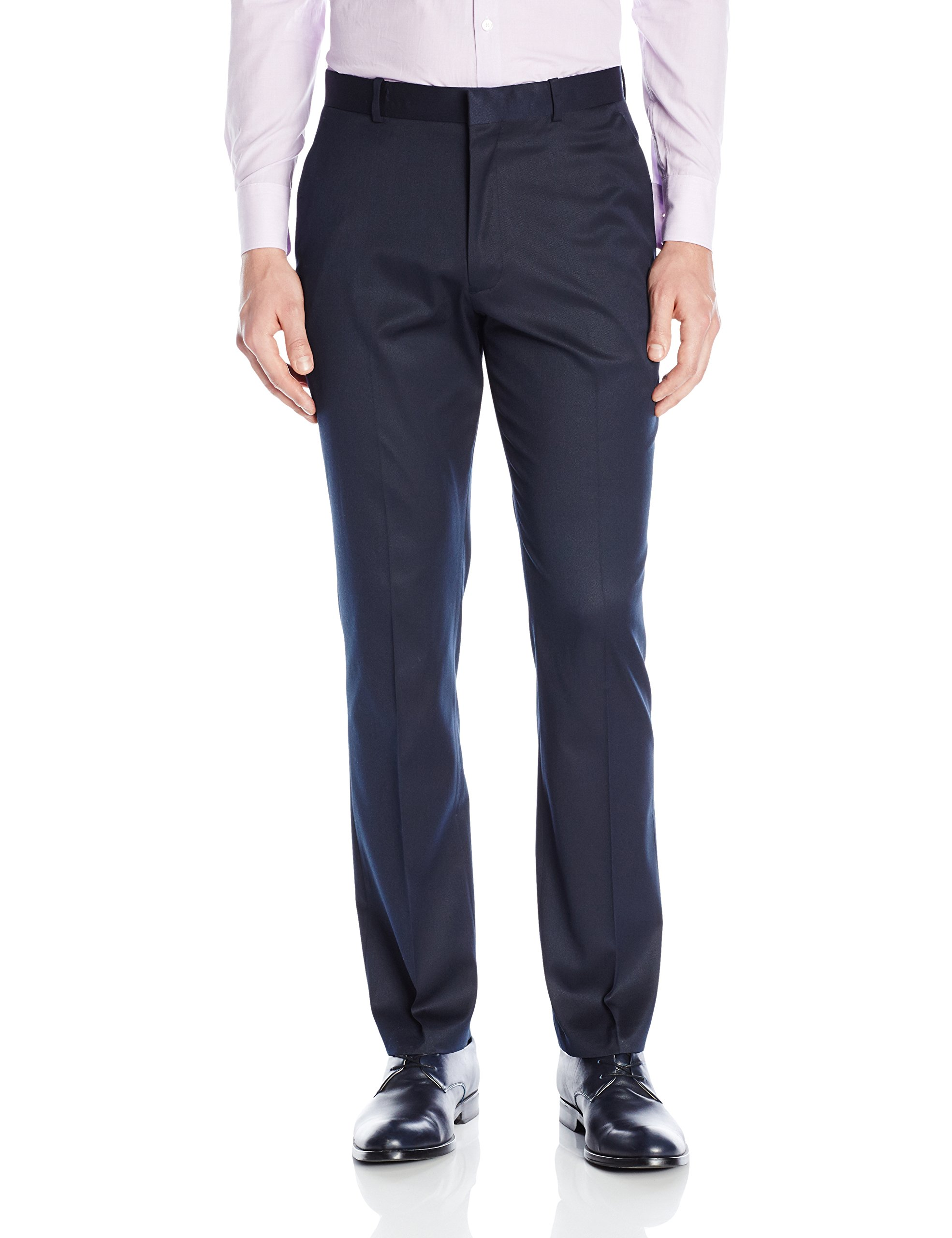 Perry Ellis Men's Solid Slim Fit Pant, Navy, 34x32 by Perry Ellis (Image #1)