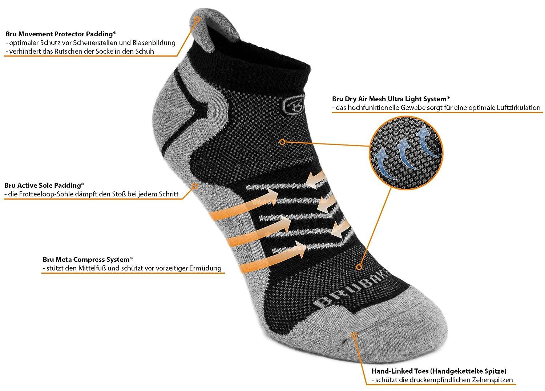 6er Pack BRUBAKER Sneaker Funktionssocken mit weicher Fersenlasche für Sport, Running, Mountainbiking