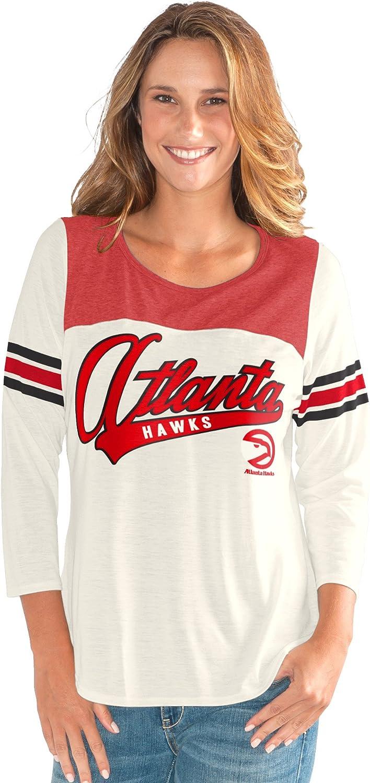 Medium G-III Sports NBA Atlanta Hawks Womens End Zone 3//4 Sleeve Tee Vintage White
