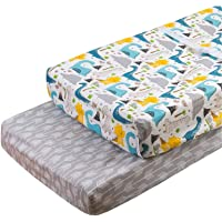 ALVABABY Cradle Mattress 100% Organic Cotton Soft and Light Baby Changing Pad Cover for Boys and Girls Dinosaurs