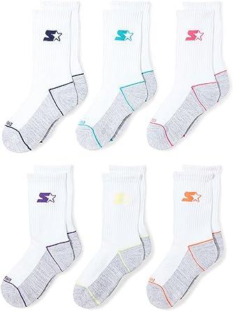 Amazon.com: Starter Girls' 6-Pack Athletic Crew Socks, Amazon Exclusive,  White, Small (Shoe Size 9-3.5): Clothing