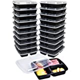 3 Compartment Meal Prep Containers with lids By Green Direct - Plastic Lunch Box Freezer Safe for Food Storage - Disposable or Reusable Great for Takeout/Portion Control or To Go Pack of 20