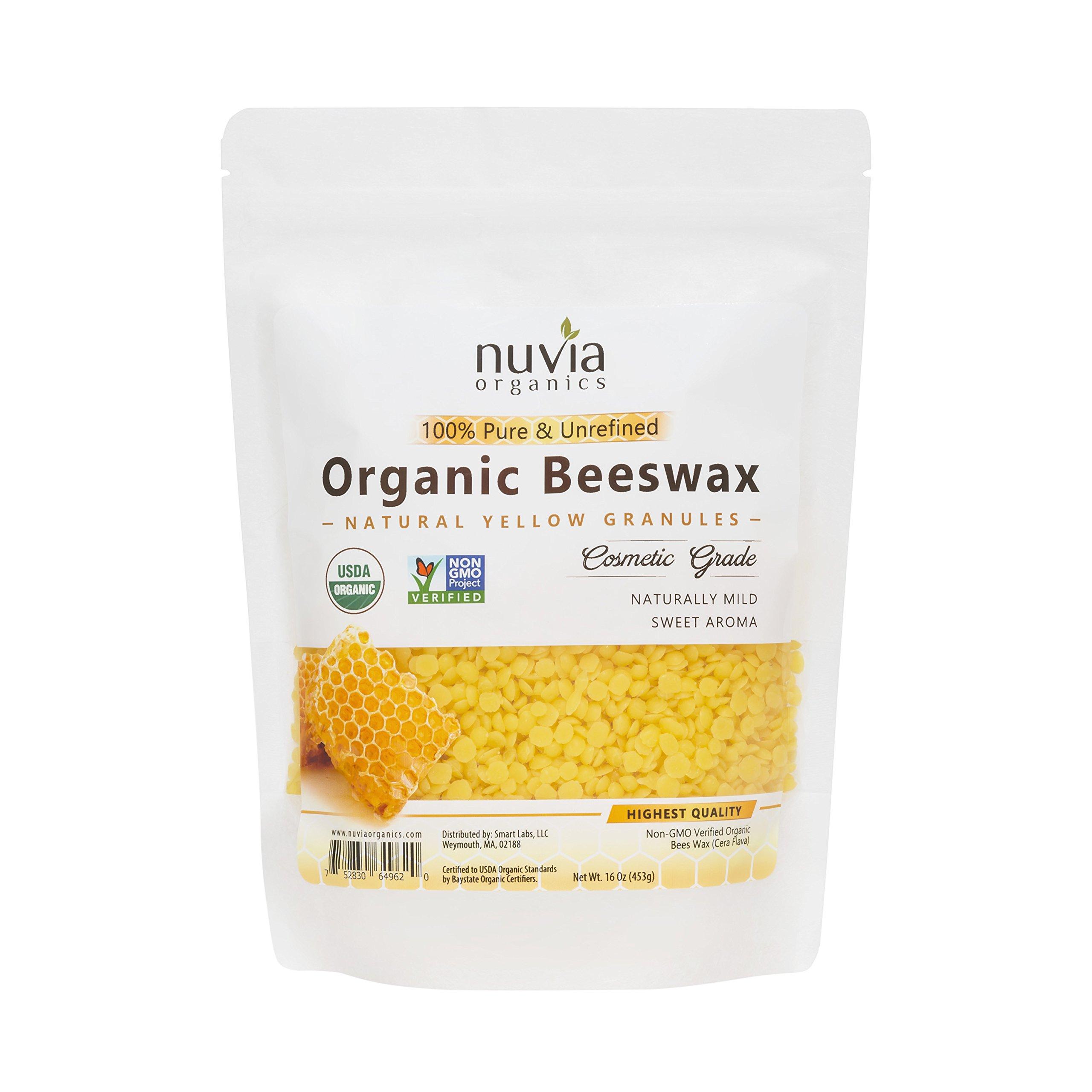 Nuvia Organics Beeswax, USDA Certified & Non-GMO Verified, Natural Yellow Granules, 16oz