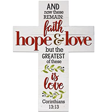 Wall Cross wall decor And Now These Remain Faith Hope Love by LifeSong Milestones 14 x19