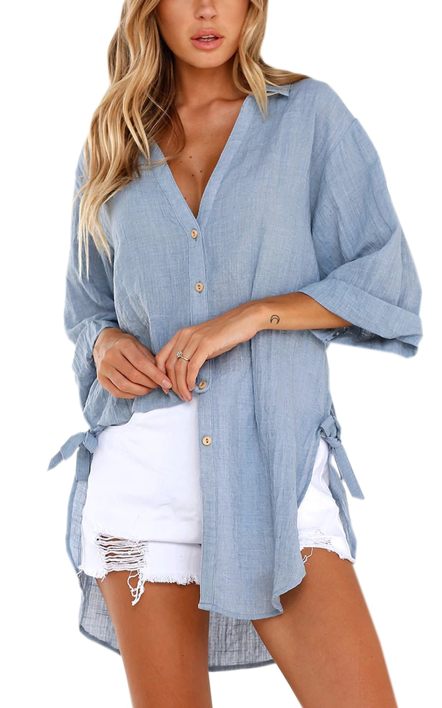 ECOWISH Womens Shirts Casual Long Sleeve Solid V Neck Shirts Loose Button Down Blouse Tops Blue L