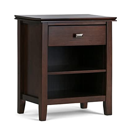 Beau Simpli Home Artisan Solid Wood Bedside Table, Medium Auburn Brown, Standard