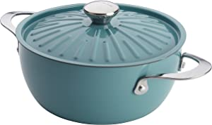 Rachael Ray 16295 Cucina Nonstick Dish/Casserole Pan with Lid, 4.5 Quart, Agave Blue