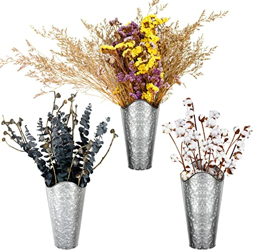 SEVENS Galvanized Wall Planter 3 Sets Metal Hanging Vase for Farmhouse Rustic Style Country Home Wall Decor Tin Style Bucket for Flowers or Plants
