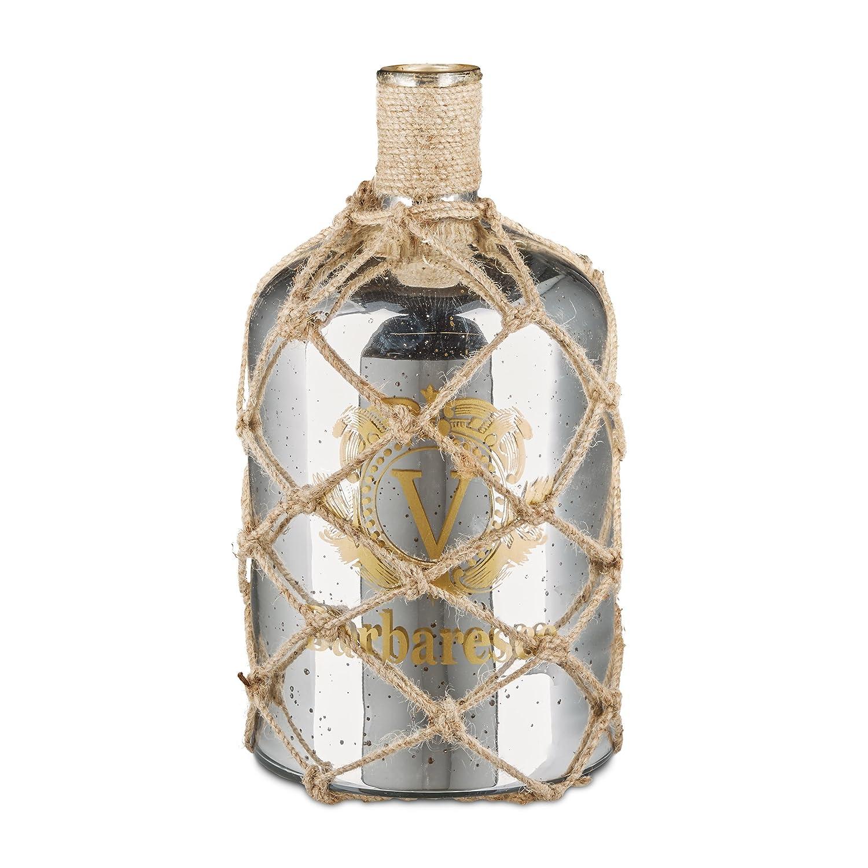 Relaxdays Shabby Sparrow Deco Plata Botella, jarrón de Suelo en diseño marítimo, Jarra de Cristal Lacado, Cordel de Yute como Red de Pesca, 10,5 l, ...