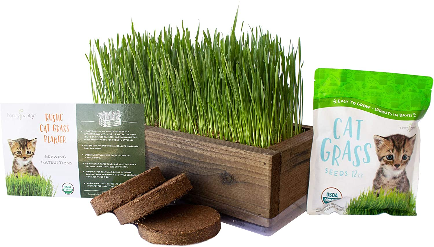 Organic Cat Grass Seeds Kit - Decorative Reclaimed Barnwood Style Organic Wheatgrass Seeds Planter - Rich Brown - Hairball Remedy for Cats, Healthy Pet Grass Supplement & Wheatgrass Growing Kit