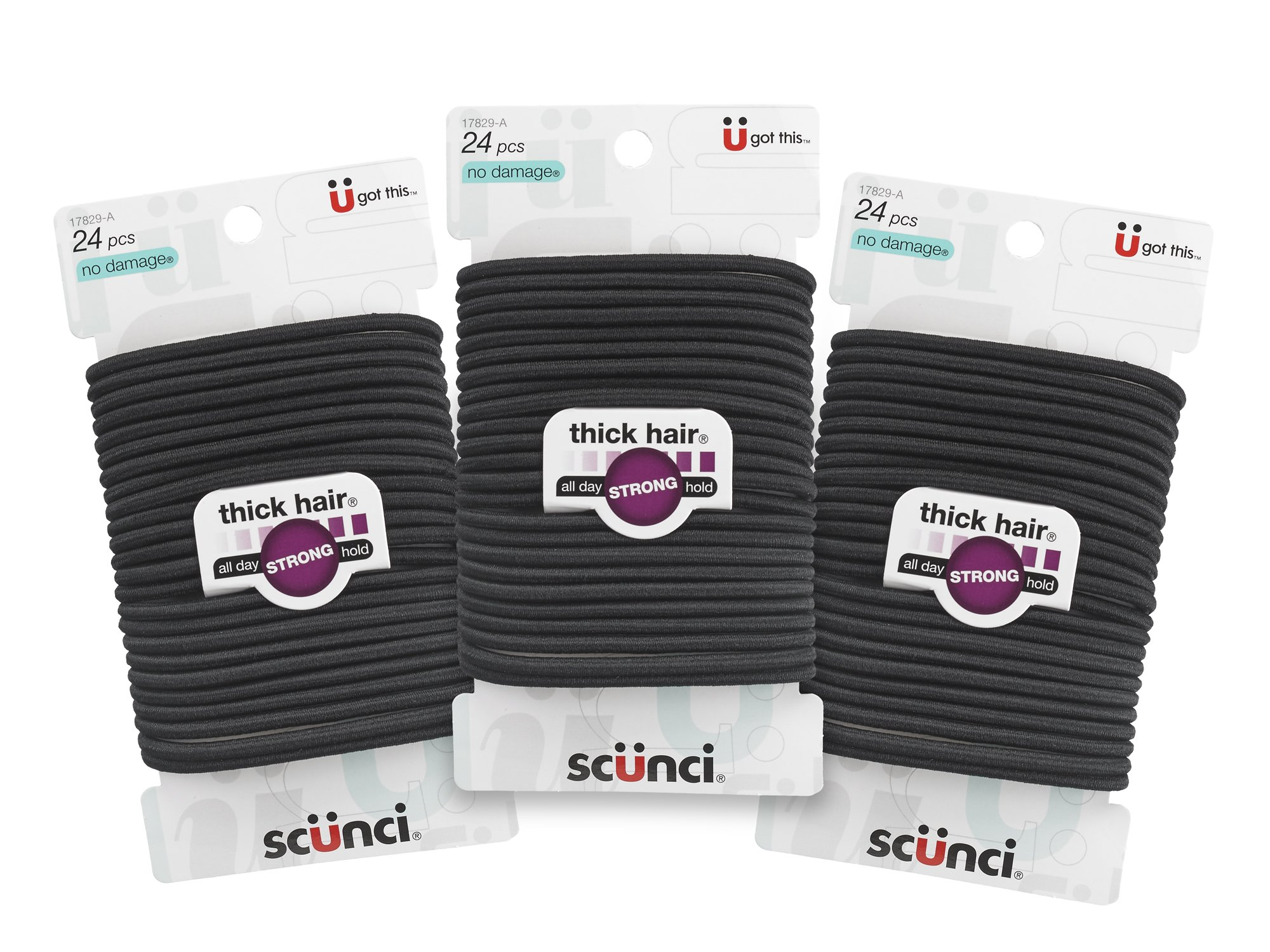 Scunci Effortless Beauty Thick Hair No-Damage Elastics, Black, 24 count(Pack of 3) by Scunci