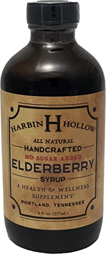 Harbin Hollow Elderberry Syrup-No Sugar Added- 8 oz Glass Bottle – All-Natural – Handcrafted – Promotes Wellness – Offers Immune Support – Wildcrafted Elderberries, Stevia, Ginger, Lemons, Spices