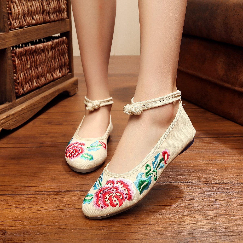 &QQ Chaussures brodées, semelle tendineuse, style ethnique, chaussures en tissu féminin, mode, confortable, décontracté