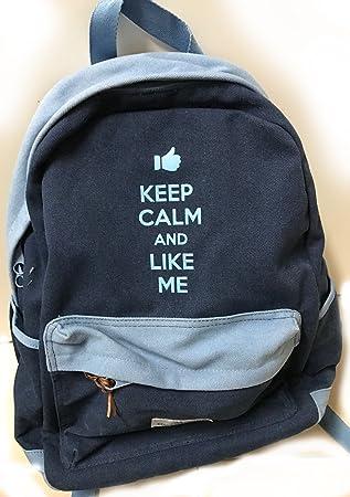 Keep Calm Mochila Escolar Free Time americano Style Jeans gris oferta New: Amazon.es: Oficina y papelería