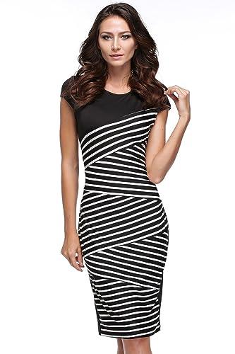 Eshion Women Striped Sleeveless Wear to Work Office Pencil Dress