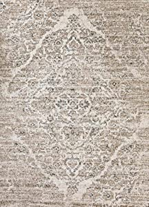 Persian-Rugs 8x10 4620 Distressed Beige 7'10x10'6 Area Rug Carpet Large New