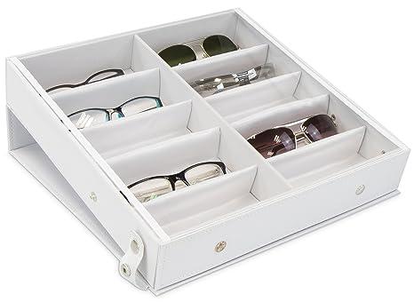 Caja de gafas para almacenar 10 vasos - Blanco aprox 32 x 32 x 6 cm - Escaparate de presentación de gafas de sol - Grinscard